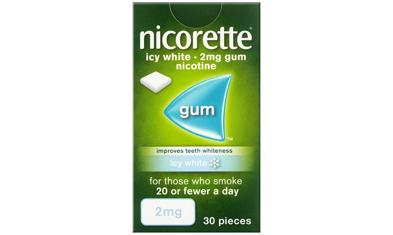 NICORETTE GUM ICY WHITE 2MG 30