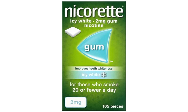 NICORETTE GUM ICY WHITE 2MG 105