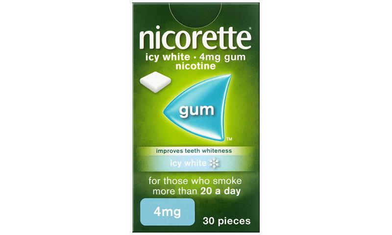 NICORETTE GUM ICY WHITE 4MG 30