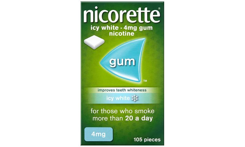 NICORETTE GUM ICY WHITE 4MG 105