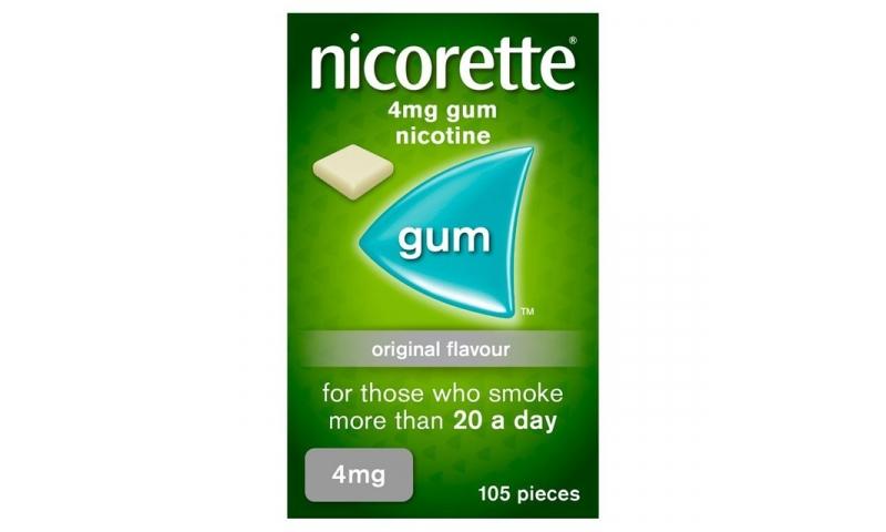 NICORETTE GUM 4MG ORIGINAL MEDICATED 105